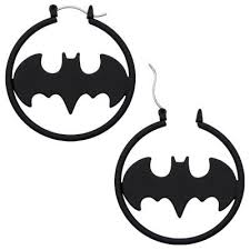 batman earrings dc comics official license batman matte black fashion 1 5 hoop