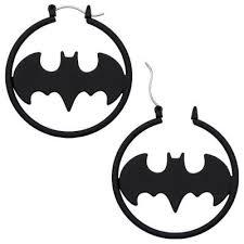 batman earrings dc comics official license batman matte black fashion 1 5 hoop