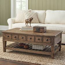 Rustic Mahogany Coffee Table Living Room View From Front Of Coffee Table With Shelf And