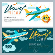 travel voucher images Vector gift travel voucher template multicolor flying airplane jpg