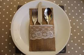 wedding silverware hessian rustic wedding burlap and lace cutlery silverware holder