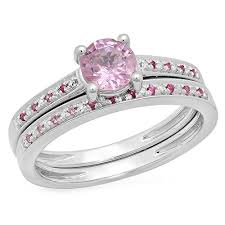 sapphire accent engagement rings 10k gold pink sapphire white bridal