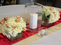 Cube Vase Centerpieces by Local Wedding Red And Yellow At Windsor Stables Elite Events Rental