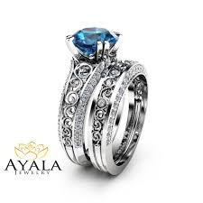 blue topaz engagement rings london blue topaz engagement ring set 2 carat topaz bridal set