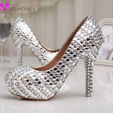 wedding shoes jeweled heels womens high heel glitter platforms wedding shoes diamond