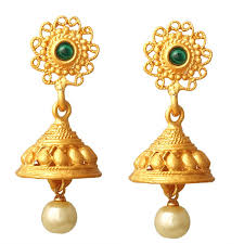 kempu earrings buy spargz traditional look gold plated kempu with pearl