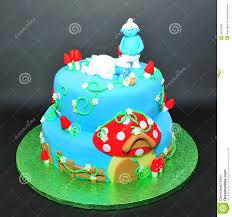 smurfs fondant cake for kids birthdays editorial photo image