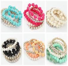 pearl bracelet elastic images 2018 cute bracelet summer beads multi layer rose elastic diamond jpg