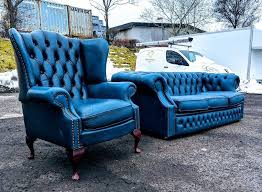Blue Leather Chesterfield Sofa Antique Blue Leather Chesterfield Sofas Suite Delivery