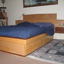 How To Build A King Size Platform Bed With Drawers by Custom Maple Platform Bed With Storage Drawers And Walnut Trim By