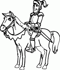 cartoon horse with knight coloring page one page wecoloringpage