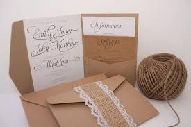 pocket fold kraft swirl burlap lace pocket fold wedding invitation