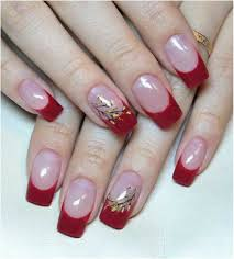 french manicure with red tips and accent nail with flowers nail