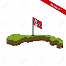 Flag Of Norway Isometric Map And Flag Of Norway 3d Isometric Shape Of Norway