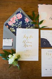 Single Card Wedding Invitations Gold And Navy Wedding Invitations Floral Wedding Navy And Floral