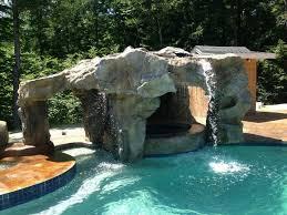 Waterfall Backyard Poolside Water Features Rock Water Slides Waterfalls Grottos