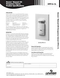 download free pdf for leviton ipp15 1l occupancy sensor other manual