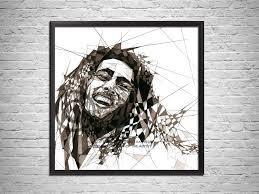 bob marley art print contemporary abstract drawing bob