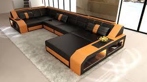 Orange Leather Sofa Sectional Leather Sofa Houston U Shape