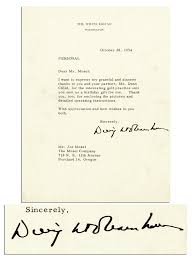 Thank You Letter For Business Partner by Lot Detail Dwight Eisenhower Typed Letter Signed As President