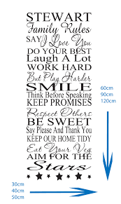 Family House Rules by Personalised House Rules Feature Wall Art