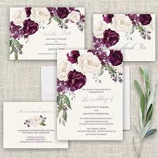 personalized wedding invitations invitations personalized eggplant purple fall floral