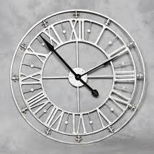 Shabby Chic Wall Clocks large round roman numerals silver metal iron wall clock distressed
