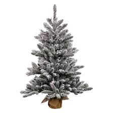flocked tree 2 5ft unlit flocked anoka pine artificial christmas tree in burlap