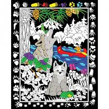 stuff 2 color fuzzy velvet coloring poster howling wolf