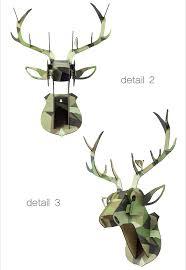 2016 high quality 3d animal home decor ideas wood deer head wall