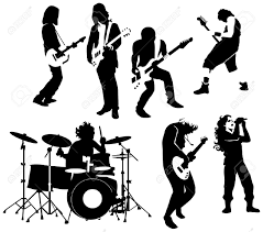 silhouette of rock and roll musicians royalty free cliparts