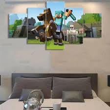 minecraft home decor 5 pieces canvas painting game poster minecraft wall art home