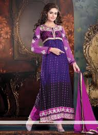 purple shade buy violet and purple shade brasso churidar suit online