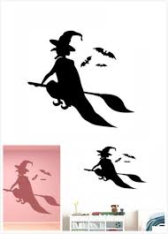 online shop simple wizard witch flying and bats wall decals window