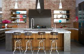 enchanting industrial kitchen with marble top also brick wall