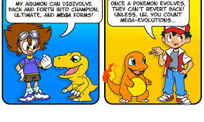 Pokemon Evolution Meme - once a pokemon evolves my agumono can digivolve back and forth into