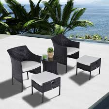 outsunny outdoor indoor 5pcs wicker rattan coffee set garden patio