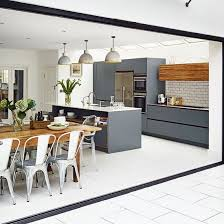 Small Kitchen Design Ideas Housetohome White Tiled Kitchen With Blue Painted Woodwork Decorating