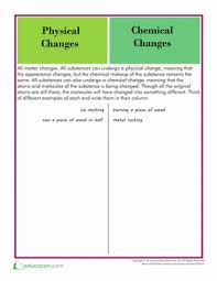 physical and chemical changes worksheet education com