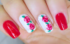 cute flower nail art design roses youtube