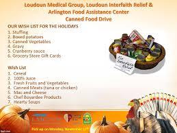 thanksgiving food drive slogans upcoming events loudoun medical group