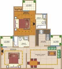 2 bhk 950 sq ft floor plan