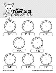 time is it mr wolf telling time worksheets 00 15 30 and 45