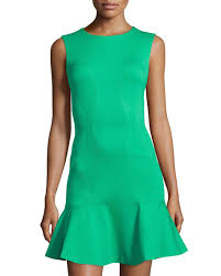 diane von furstenberg knit ruffle hem sleeveless dress green