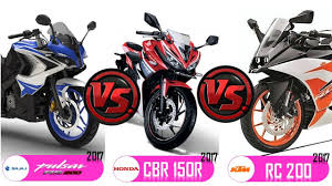 hero cbr new model bajaj pulsar rs200 2017 vs honda cbr 150 r vs ktm rc200 2017 youtube