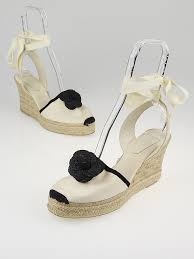 chanel white canvas camellia ankle wrap espadrille wedges size