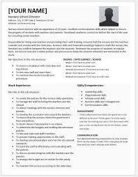 Nursery Teacher Resume Sample Nursery Director Resume Teacher Resume Sample Page 1