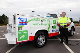electric cars charging aaa unveils north america u0027s first roadside assistance truck