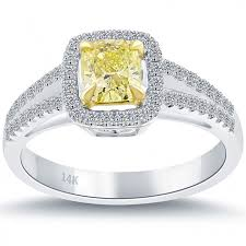 cushion cut engagement rings with halo 0 95 carat fancy yellow cushion cut engagement ring 14k