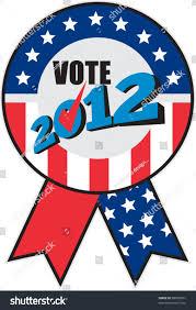 American Flag Words Illustration Ribbon Showing Election Ballot Box Stock Vector